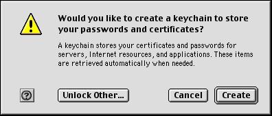 Keychain - dialog k vytvoření úložiště hesel.