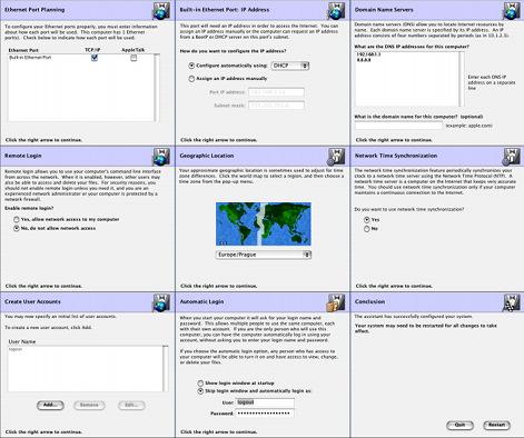 Mac OS X DP3 - konfigurační asistent