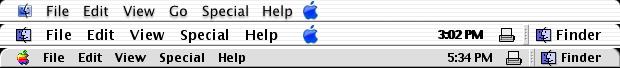 Tři typy menu v DP3