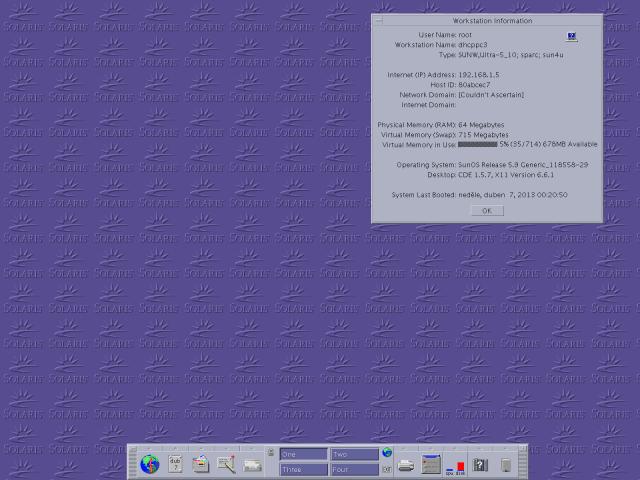 Pracovní plocha prostředí CDE v Solarisu 9